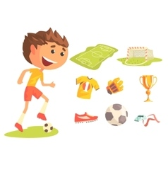 Boy soccer football player kids future dream vector