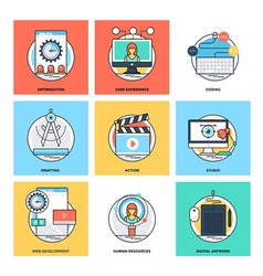 Flat color line design concepts icons 12 vector