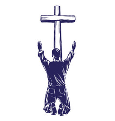 Man praises god for the forgiveness of his sins vector