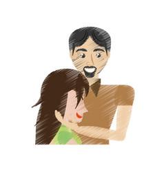Drawing man caress woman romance vector