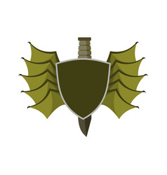 Shield and bat wings emblem devil wing heraldry vector