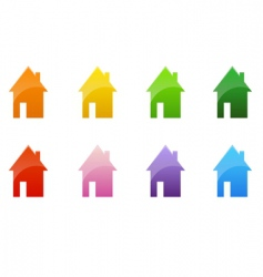 Color cottages vector