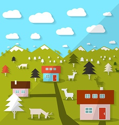 Rural mountain landscape vector