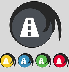 Road icon sign symbol on five colored buttons vector