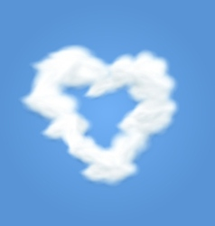 Fluffy cloud shape heart love vector