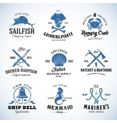 Set of vintage nautical and marine labels vector
