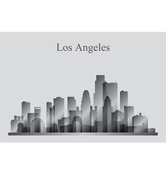 Los angeles city skyline silhouette in grayscale vector