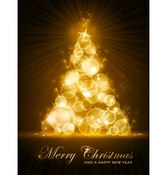 Golden stylised christmas tree vector