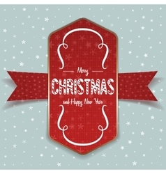 Christmas greeting red label and white ribbon vector