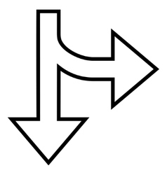 Split direction right down thin line icon vector
