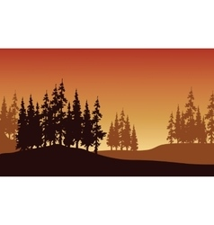 Silhouette of spruce in hills vector