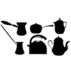 Coffee and tea silhouettes vector