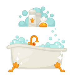 Bathtub with soap bubbles in bathroom icon vector