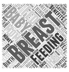 Benefits of breast feeding word cloud concept vector