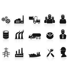 Black industry icons set vector