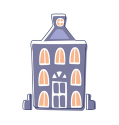 blue classy building cute fairy tale city vector image