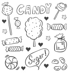 Candy various sketch doodle style vector