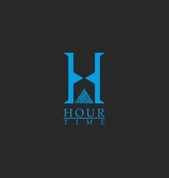 Capital letter h monogram logo concept time vector