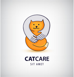 cat care pet shop logo vector image vector image