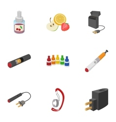 Cigarette icons set cartoon style vector