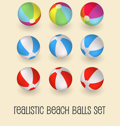 Colorful beach balls set isolated vector