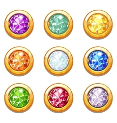 Colorful golden amulets with diamonds vector