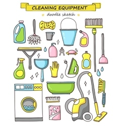 Doodle set of cleaning tools vector