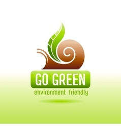 Ecological symbol logo with snail shell and green vector