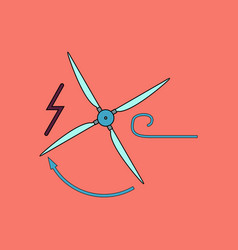 Flat icon design collection wind turbine vector