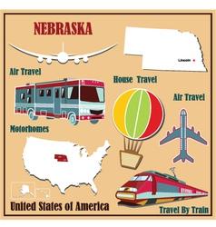 Flat map of nebraska vector