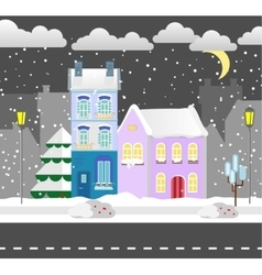 Flat style winter house cottage vector
