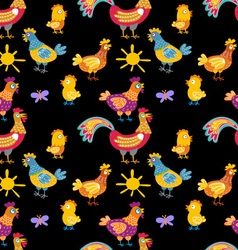 Fun chickens seamless pattern background with hand vector