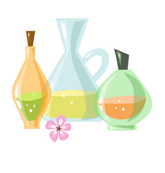 glass bottles of aromatic liquids and small pink vector image