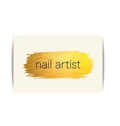 Gold texture nail art buisness card vector