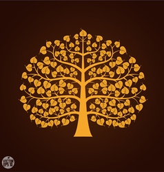 Golden bodhi tree symbol vector
