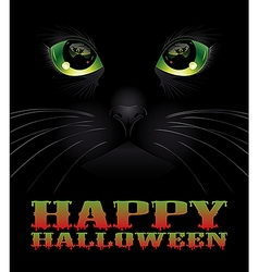 Halloween background with black cat vector