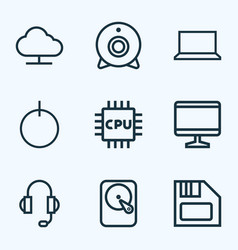 hardware outline icons set collection of power vector image