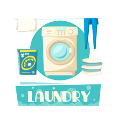 laundry and washing machine and linen vector image