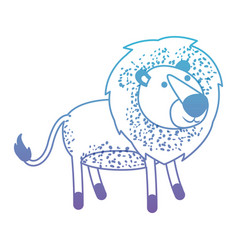 Lion cartoon in degraded blue to purple color vector