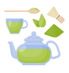 matcha tea flat icons set vector image