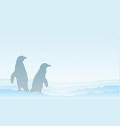 On snow penguin silhouette landscape vector