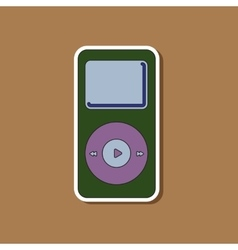 Paper sticker on background of music player vector
