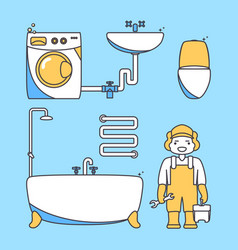 Plumber worker cartoon character male character vector