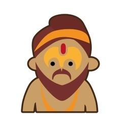Portrait cartoon man sadhu culture india vector