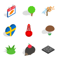 Relocate the animal icons set isometric style vector