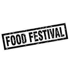 Square grunge black food festival stamp vector