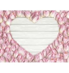 Tulips heart shape frame EPS 10 vector image vector image