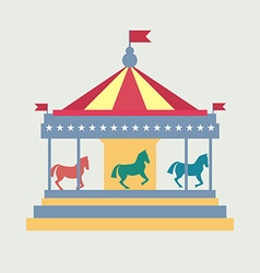 Vintage merry-go-round carousel vector