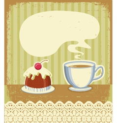 Vintage tea time background with sweet desert vector image