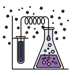 White background with stars and dots of test tube vector